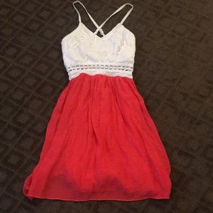 White and coral dress size 0